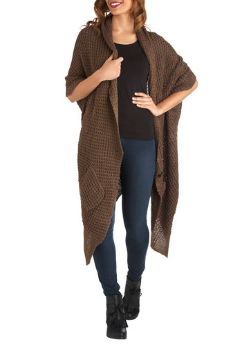 Blanket Statement Cardigan in Cocoa - Brown, Buttons, Knitted, Pockets, Casual, Rustic