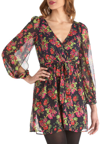 Here Comes the Bloom Dress - Floral, Casual, Long Sleeve, V Neck, Sheer, Short, Multi, Red, Green, Blue, Pink, Shift