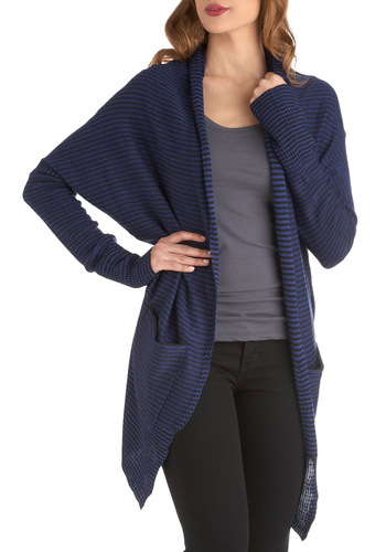 Workshopping Weekend Cardigan by Jack by BB Dakota - Blue, Black, Stripes, Pockets, Casual, Long Sleeve