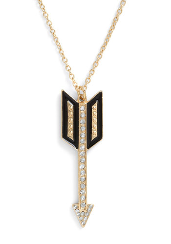 Arrowhead of the Game Necklace - Gold, Black, Rhinestones, 20s