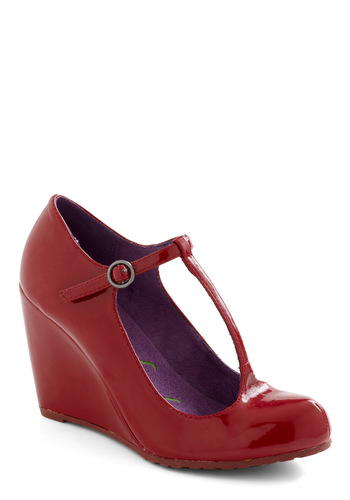 From the Taupe Heel in Cherry - Red, Solid, Wedge, Mid, Party, Work, Casual, Cocktail, Vintage Inspired, Good, T-Strap