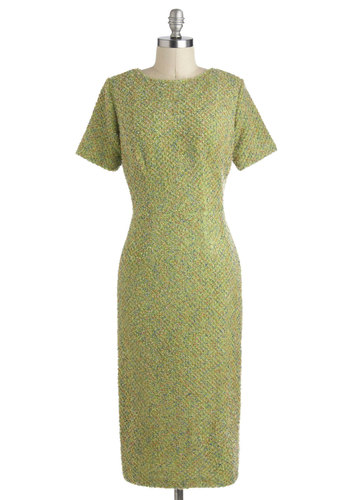 Key Limelight Dress - Long, Green, Work, Vintage Inspired, 50s, Short Sleeves, Fall