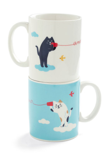 Mew and Me Mug Set by Japanese Gift Market - White, Blue, Print with Animals, Dorm Decor, Quirky, Cats