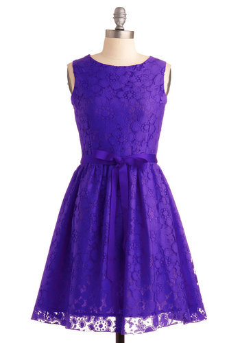 Looking Like a Million Dress in Violet - Mid-length, Purple, Solid, Lace, Belted, Party, Fit & Flare, Sleeveless, Tis the Season Sale, Formal, Variation