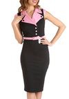 Rock Around the Carhop Dress - Black, Pink, Buttons, Belted, Sheath / Shift, Long, Pinup, Vintage Inspired, Party, 50s, Sleeveless, Solid