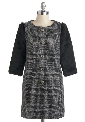 Turin Time Coat by Darling - Long, 2, Grey, Black, Houndstooth, Buttons, Work, Vintage Inspired, 40s, Long Sleeve, Fall, Faux Fur