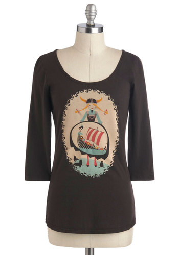 The Leif Aquatic Top - Brown, Casual, Mid-length, Quirky, Multi, 3/4 Sleeve