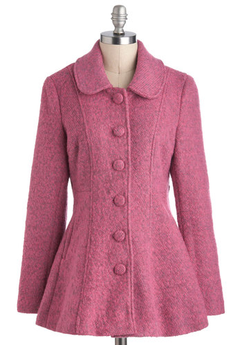 Second to Fun Coat - Pink, Buttons, Pockets, Casual, A-line, Long Sleeve, 3, Solid, Mid-length