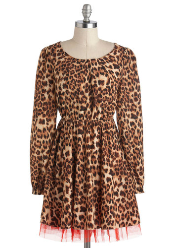 Safari Supper Dress - Brown, Tan / Cream, Animal Print, Long Sleeve, Short, Party, A-line, Urban, Statement