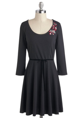 Simplicity Stitcher Dress by Nick & Mo - Black, Solid, Embroidery, Vintage Inspired, A-line, Long Sleeve, Fall, Mid-length, Belted, Casual