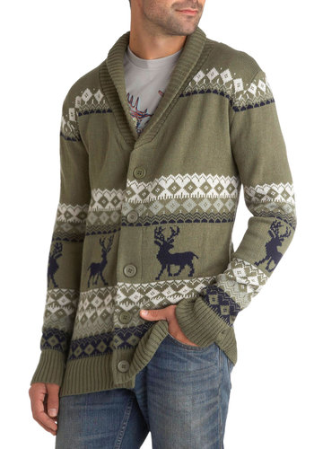Take Caribou Cardigan in Buck - Green, Black, Grey, White, Buttons, Knitted, Casual, Long Sleeve, Winter, Holiday, International Designer