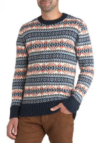 Fair Isle Be There Sweater - Mid-length, Orange, White, Print, Knitted, Casual, Long Sleeve, Blue, Winter, International Designer
