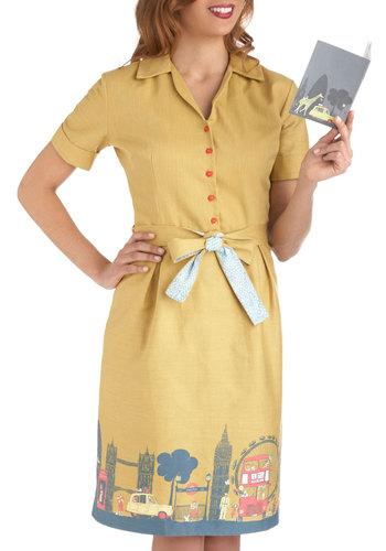 Been There, London That Dress - Cotton, Long, Yellow, Multi, Belted, Casual, Vintage Inspired, Short Sleeves, Buttons, Travel, Collared, International Designer, Pastel