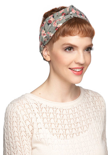 Twist to My Lou Headband - Grey, Floral, Pink, Travel