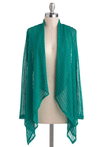 Lightly Layered Cardigan - Sheer, Mid-length, Green, Solid, Casual, Long Sleeve