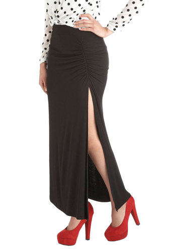 Maximum Lengths Skirt - Black, Solid, Maxi, Long, Jersey, Party, Girls Night Out