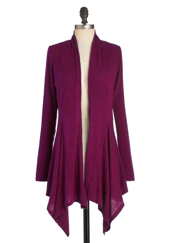 Leaf It for Later Cardigan in Magenta - Jersey, Mid-length, Pink, Solid, Casual, Long Sleeve