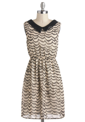 Watercolor of the Year Dress - Mid-length, Black, White, Print, Sequins, A-line, Sleeveless, Collared, Grey, Party
