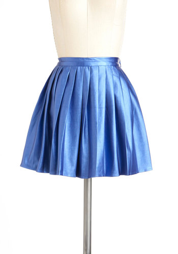Cutting Edgy Skirt by Mink Pink - Blue, Solid, Pleats, Short, Girls Night Out, Vintage Inspired, 90s
