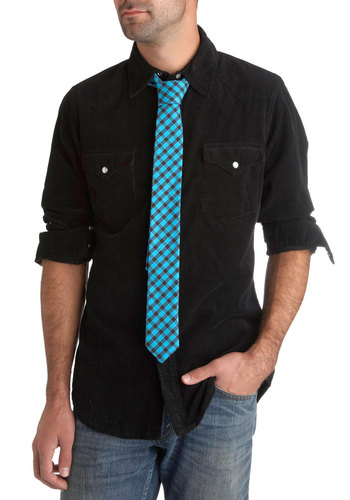 Before and Dapper Tie in Electric Blue - Cotton, Blue, Black, Plaid, Work