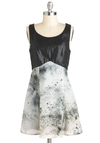 Re-Speck Yourself Dress - Print, Party, Sleeveless, Short, Black, Grey, White, Exposed zipper, Empire