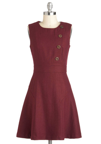 Intelligently Chic Dress by Pink Martini - Mid-length, Red, Solid, Buttons, Work, Casual, Sleeveless