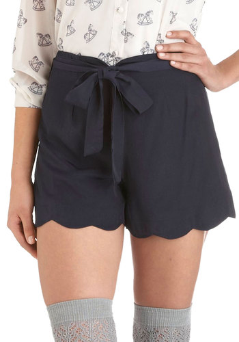 Come Sailor Away With Me Shorts - Blue, Solid, Scallops, Belted, Casual, Vintage Inspired, Short, Nautical