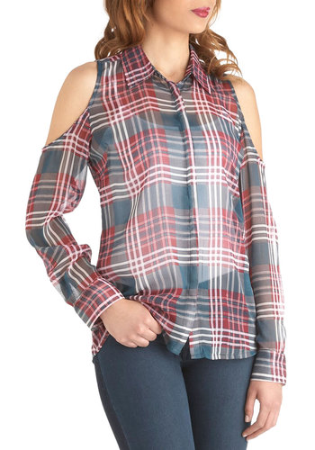 Uptown Hoedown Top - Chiffon, Sheer, Mid-length, Red, Blue, White, Plaid, Cutout, Casual, Long Sleeve