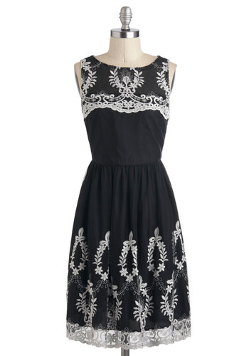 Sweet Couture Dress - Mid-length, Black, White, Embroidery, Lace, Party, A-line, Sleeveless, Vintage Inspired