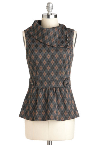 Coach Tour Top in Argyle - Mid-length, Tan / Cream, Grey, Plaid, Buttons, Work, Peplum, Sleeveless