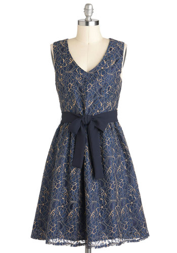Dusk to Dawn Dress - Blue, Gold, A-line, Sleeveless, Belted, Mid-length, Cocktail, Lace, V Neck