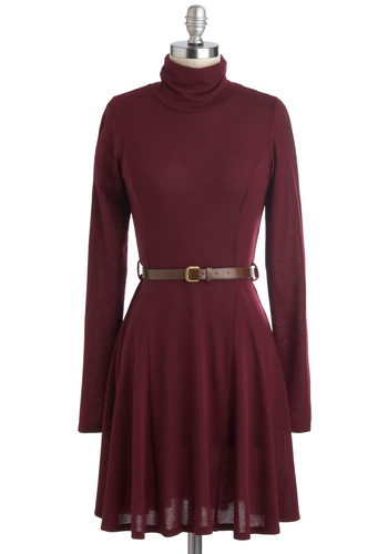 Zinfandel Zeal Dress in Wine - Sheer, Red, Solid, Belted, Casual, Sweater Dress, Long Sleeve, Fall, Mid-length, Tis the Season Sale, Work