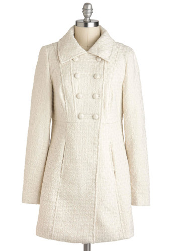 Blissful Blizzard Coat by Tulle Clothing - Solid, Buttons, Long Sleeve, Winter, Long, 3, Cream