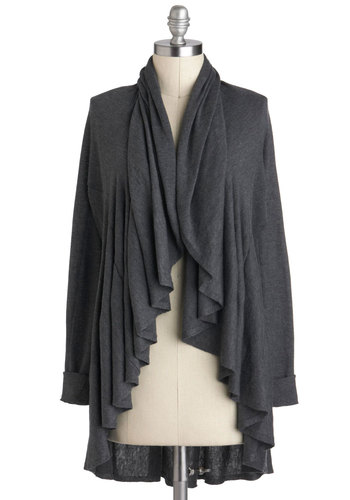 When the Going Gets Ruffle Cardigan - Grey, Solid, Casual, Long Sleeve, Minimal