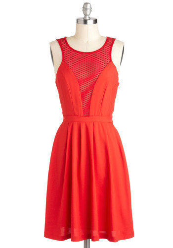 Happy We Mesh Dress - Mid-length, Sheer, Red, Solid, Party, A-line, Sleeveless, Tis the Season Sale