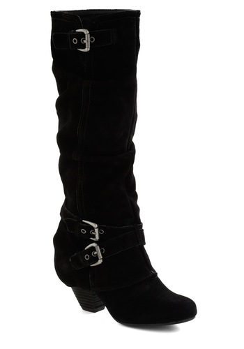 Slice of Nightlife Boot - Mid, Leather, Black, Solid, Buckles, Urban, Chunky heel