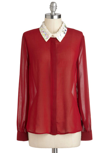 Candy Cane Do Attitude Top - Red, Tan / Cream, Buttons, Long Sleeve, Pearls, Rhinestones, Sheer, Collared, Mid-length, Party, Girls Night Out, Tis the Season Sale