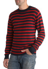You Can Breton It Sweater - Mid-length, Red, Blue, Stripes, Buttons, Knitted, Casual, Nautical, Long Sleeve, Winter
