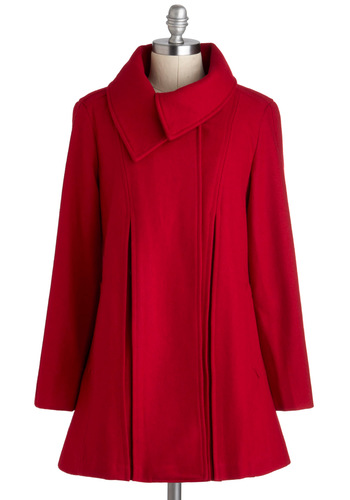 Sky Capers Coat in Crimson - Long, Red, Solid, Pockets, A-line, Long Sleeve, Winter, 4, Vintage Inspired, 60s, Tis the Season Sale