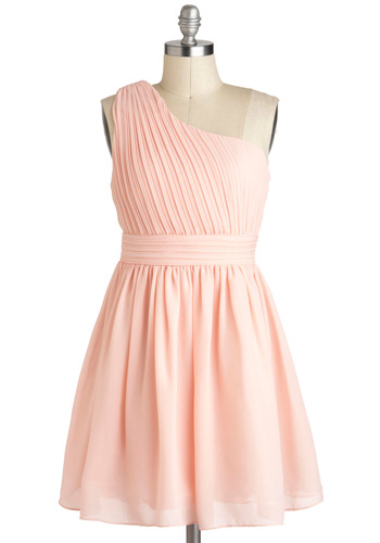 I Pink You're Lovely Dress - Pink, Pastel, Solid, Pleats, Wedding, A-line, One Shoulder, Spring, Mid-length, Prom, Tis the Season Sale, Bridesmaid