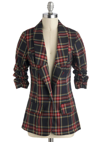 So Plaid to Be Here Blazer - Plaid, Buttons, Menswear Inspired, 3/4 Sleeve, 1, Multi, Tis the Season Sale, Mid-length