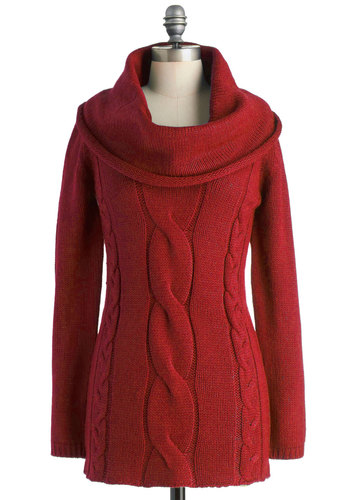 Cable Car Cowl Sweater in Bridge - Red, Solid, Knitted, Casual, Long Sleeve, Long, Tis the Season Sale