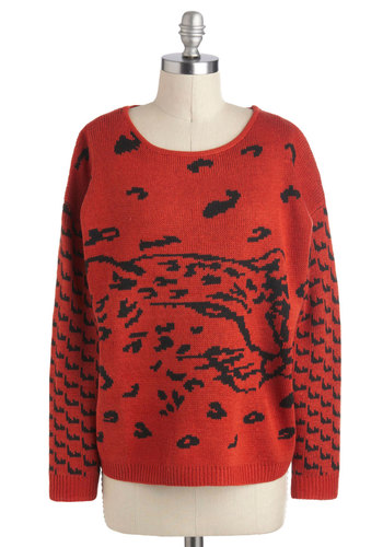 Learn to Jungle Sweater by Mink Pink - Red, Black, Print with Animals, Casual, Vintage Inspired, Long Sleeve, 80s, Mid-length