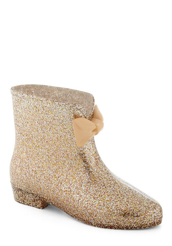Glitter-Patter Rain Boot - Gold, Bows, Glitter, Low, Spring