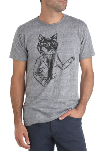 Purr-sonal Best Top by Nooworks - Grey, Black, Casual, Short Sleeves, Mid-length, Print with Animals