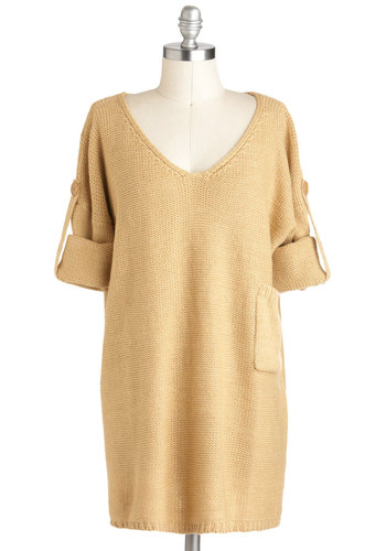 Chai Tea Sweater - Long, Tan, Solid, Pockets, Casual, Short Sleeves, Fall