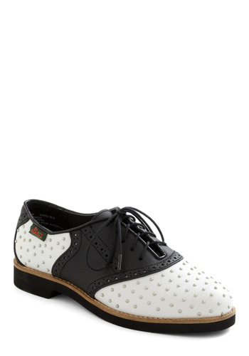 Rachel Antonoff for Bass Studly Shoe Right Flat by Bass - White, Studs, Menswear Inspired, Low, Leather, Black, Casual