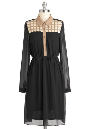 Very Important Gate Dress - Cutout, Long Sleeve, Sheer, Long, Black, Tan / Cream, Buttons, Shirt Dress, Collared, Casual