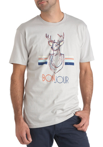 Graphic Greetings Tee - Grey, Orange, Blue, Casual, Short Sleeves, Cotton, Print with Animals