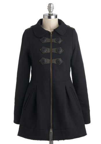 Basil Crêpes Coat by Knitted Dove - Black, Buttons, Long Sleeve, Winter, 3, Pockets, Long